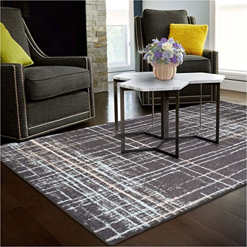 Superior Painted Stripes Collection, 6mm Pile Height with Jute Backing, Quality and Affordable Area Rugs, 2 x 3 Grey