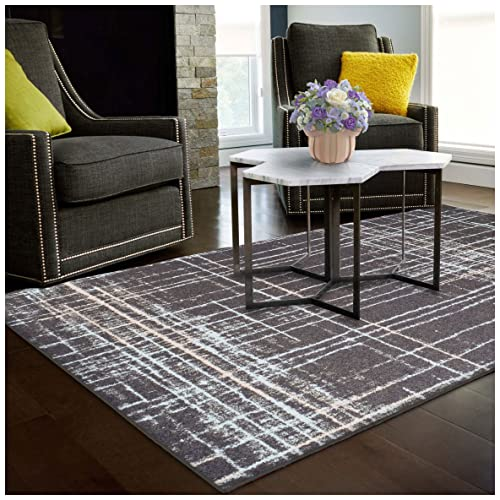 Superior Painted Stripes Collection Area Rug, 6mm Pile Height with Jute Backing, Affordable Contemporary Rugs, Chic Geometric Windowpane Pattern – 5 x 8 Rug, Grey