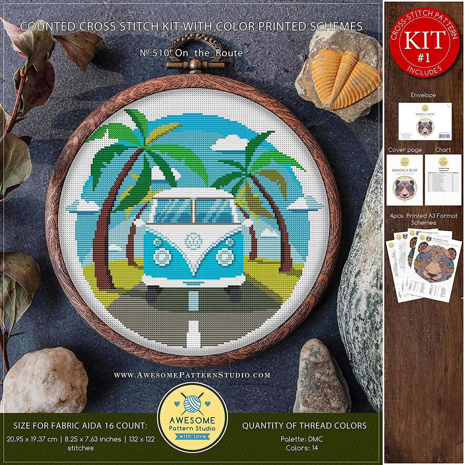 Stitching Cross Stitch World On The Route #K510 Embroidery Kit Needlepoint Cross Designs Embroidery Designs