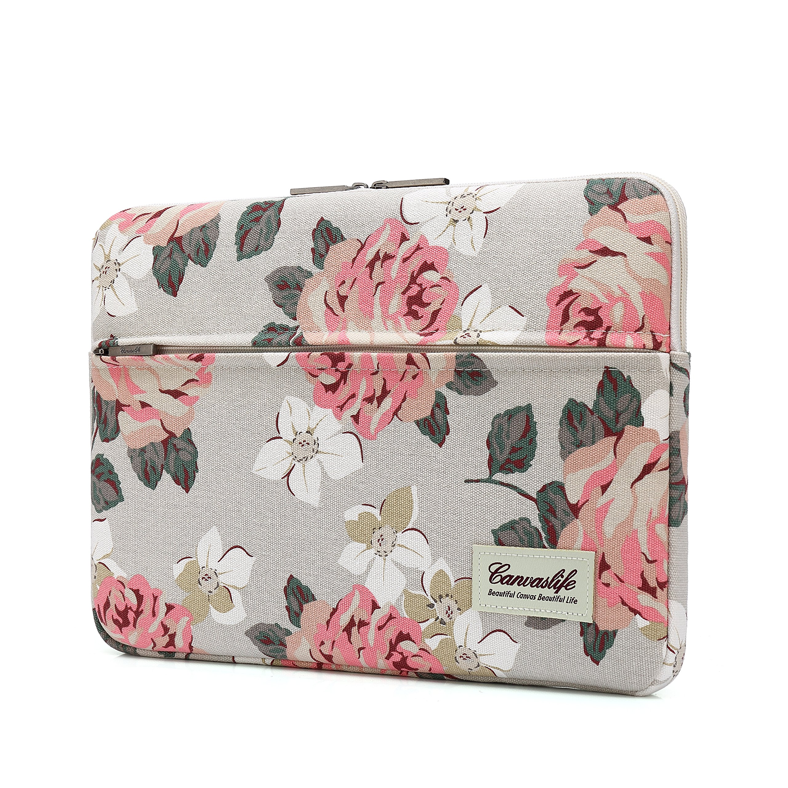 Canvaslife Pink Rose Pattern 13 inch Canvas Laptop Sleeve with Pocket 13 inch 13.3 inch Laptop 13 case13 Sleeve by canvaslife