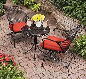 Amazon.com : Outdoor Wrought Iron Bistro Set W / FREE Orange ...