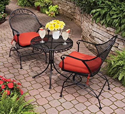 Superior Outdoor Wrought Iron Bistro Set W / FREE Orange Cushions