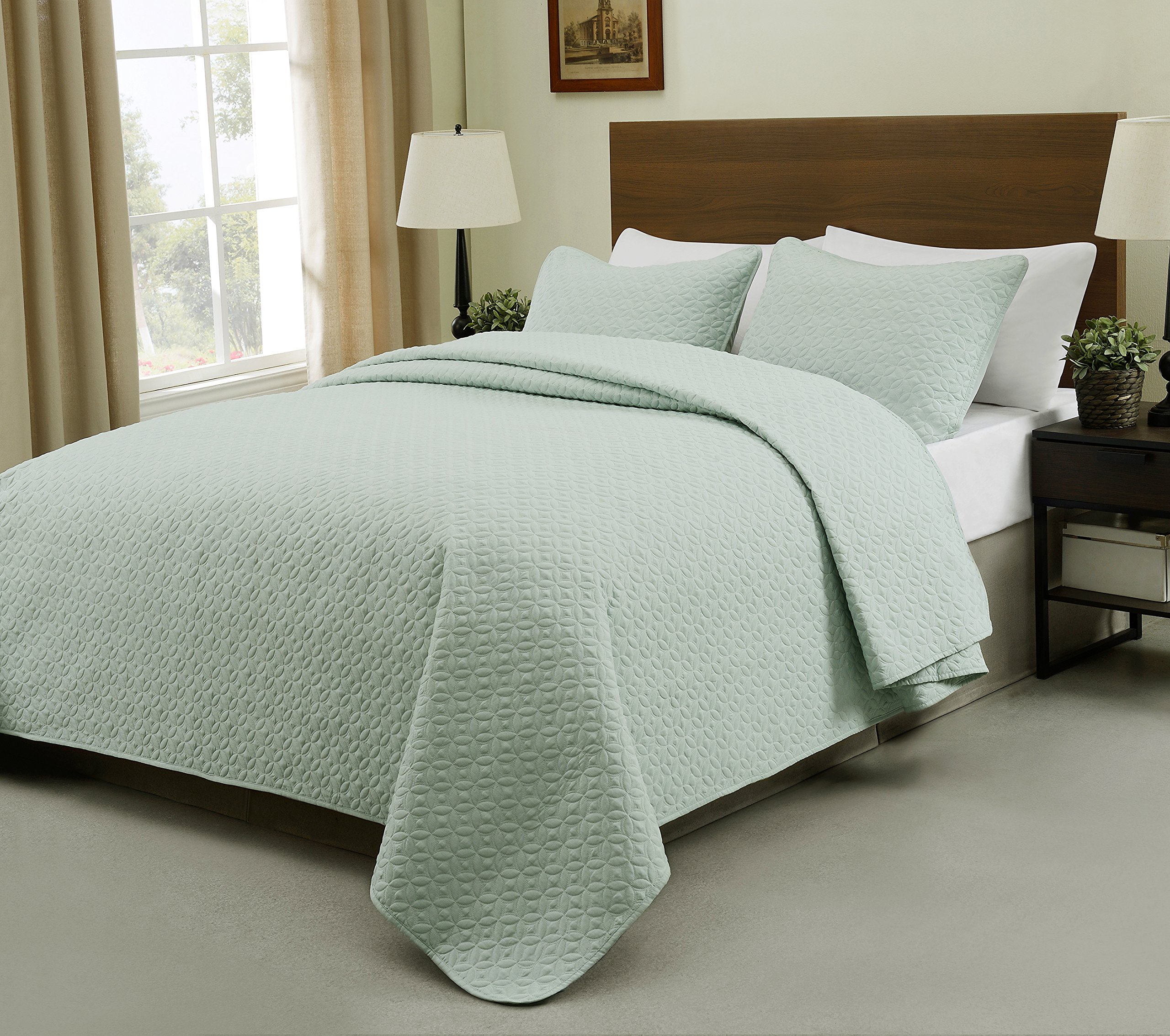 Allyson Full/Queen Size Bed 3pc Quilted Bedspread Aqua Green Color Bed Cover Set, Thin Extra Light weight and Oversized coverlet by Cozy Beddings