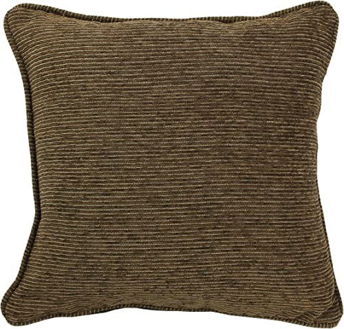 Blazing Needles Double-Corded Square Patterned Jacquard Chenille Throw Pillow with Insert, 18 , Vermont