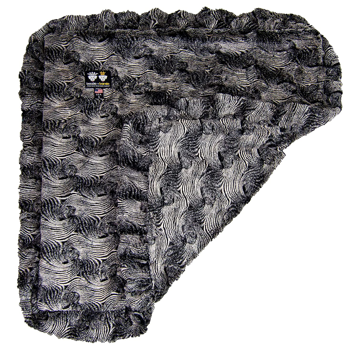 BESSIE AND BARNIE Arctic Seal (Ruffles) Luxury Ultra Plush Faux Fur Pet, Dog, Cat, Puppy Super Soft Reversible Blanket (Multiple Sizes) DEUKQ BLNKT-AS-MD