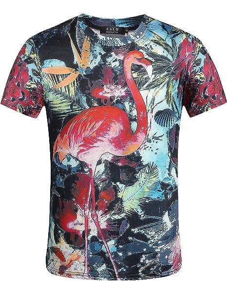 d8f6ff7f24dcd SSLR Men s Flamingos Hawaiian Tees Regular Fit Short Sleeve Casual T-Shirts  (Large