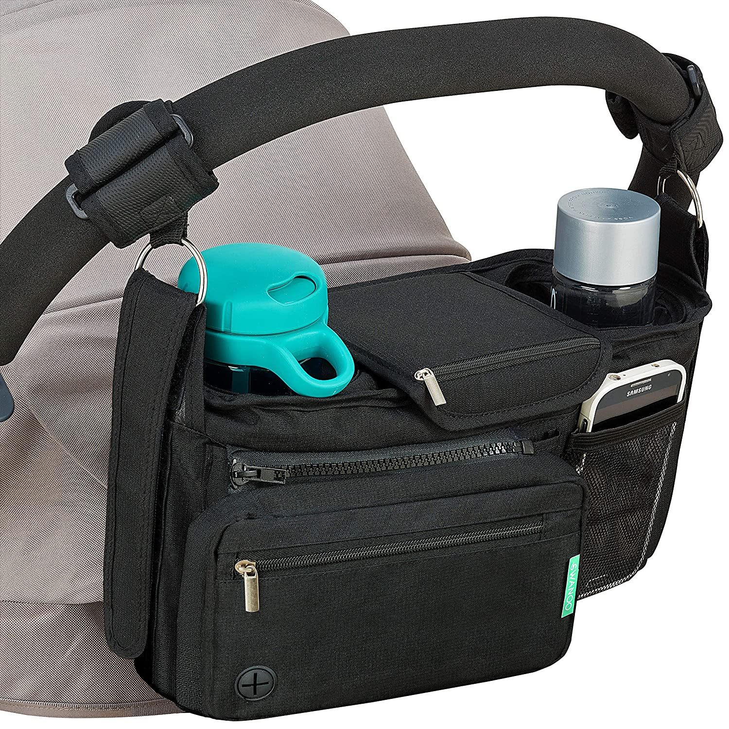 STROLLER ORGANIZER with cup holders NON-SKID strap FITS ALL strollers, Compact Mirror, Storage for Phone, Wallet, Toys,