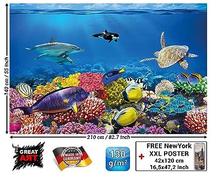 Tapiz de foto Acuario Mural Decoración Mundo submarino colorido Criaturas marinas Océano Peces Delfín Arrecife de coral Pez payaso I foto-mural ...