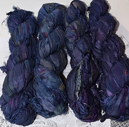 100g Sari Silk Ribbon craft ribbon jewelry making Navy Blue Purple