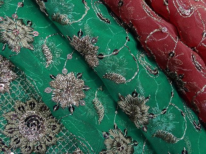 PEEGLI Indian Vintage Dupatta Verde Tradicional Mujer Estola Georgette DIY Tela Bordado Floral Boda Diseñador Velo: Amazon.es: Hogar