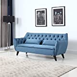 Mid Century Modern Tufted Linen Fabric Sofa (Blue)
