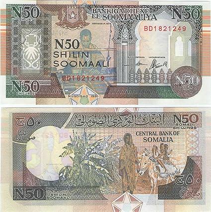 Bank of Somalia 50 N Shillings Banknote Crisp Somalia 100 1991 Collectible World Banknotes UNC
