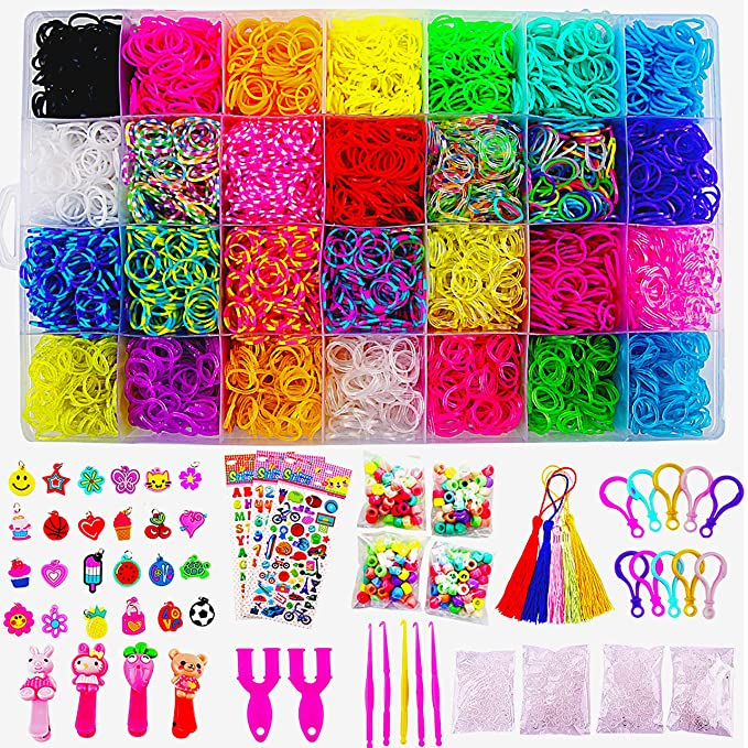 11680+ Rainbow Rubber Bands Mega Refill Bracelet Making Kit   Loom Bands Large Storage Container , Over 10000 Premium Loom Bands In Different Nice Colors , 600 S Clips , 25 Charms And 200 Beads by Vickid