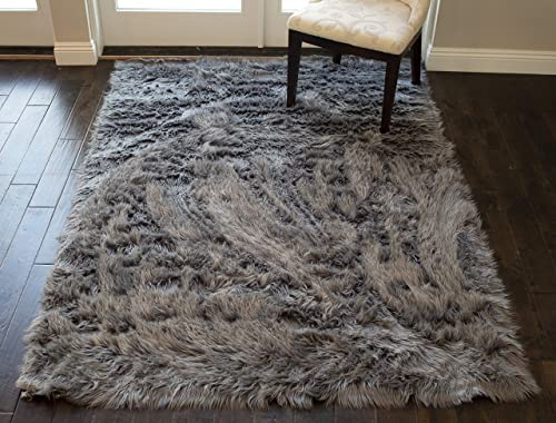 Modern Contemporary 5×7 Feet Gray Grey Charcoal Colors Faux Sheepskin Sheep Hide Furry Fuzzy Area Rug Carpet Rug Solid Plush Pile Soft Decorative Designer Bedroom Living Room Polyester Made
