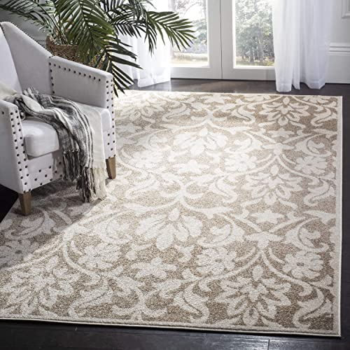Safavieh Amherst Collection AMT424S Floral Damask Area Rug, 9 x 12 , Wheat Beige