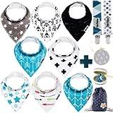 Dodo Babies Baby Bandana Drool Bib Set - 8pc Infant Bibs with 2 Pacifier Clips, Binky Case, Gift-Ready Bag - Soft…