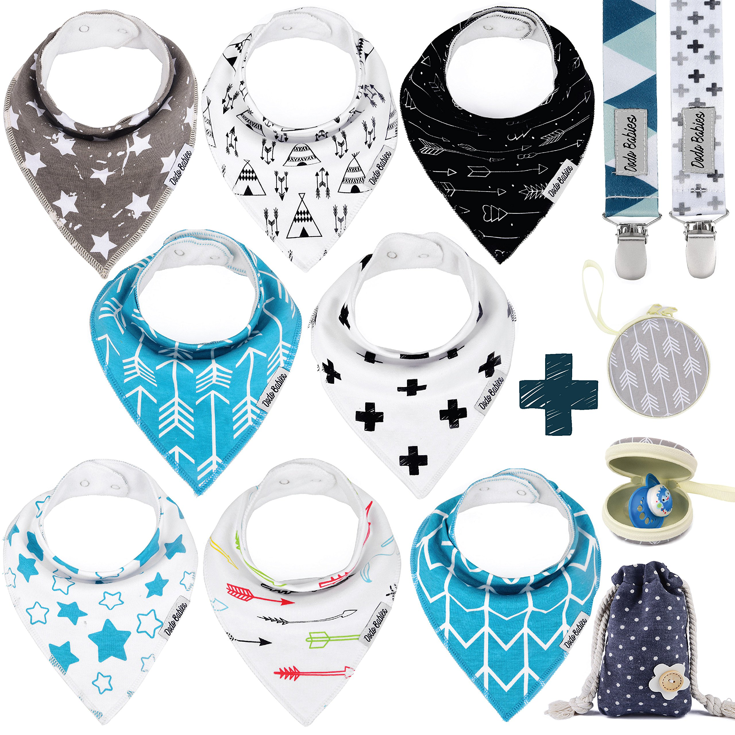 Baby Bandana Drool Bibs by Dodo Babies + 2 Pacifier Clips + Pacifier Case In a Gift Bag, Pack of 8 Premium Quality For Boys or Girls , Excellent Baby Shower / Registry Gift