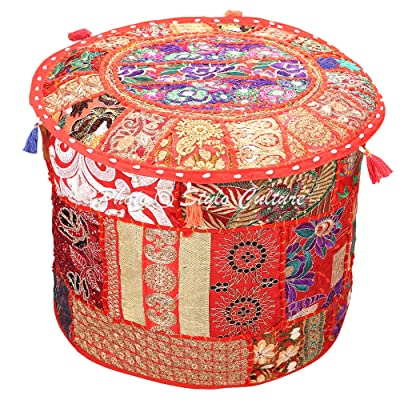 Stylo Culture Indian Pouffe Ottoman Cover Round Patchwork Embroidered Pouf Red Cotton Floral Traditional Furniture Footstool Seat Puff (16x16x13) Bean Bag Living Room Decor: Kitchen & Dining