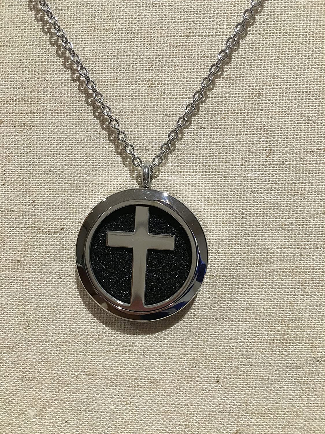 Essential Oils Diffuser Stainless Steel Necklace Cross Religious pendant  with 19