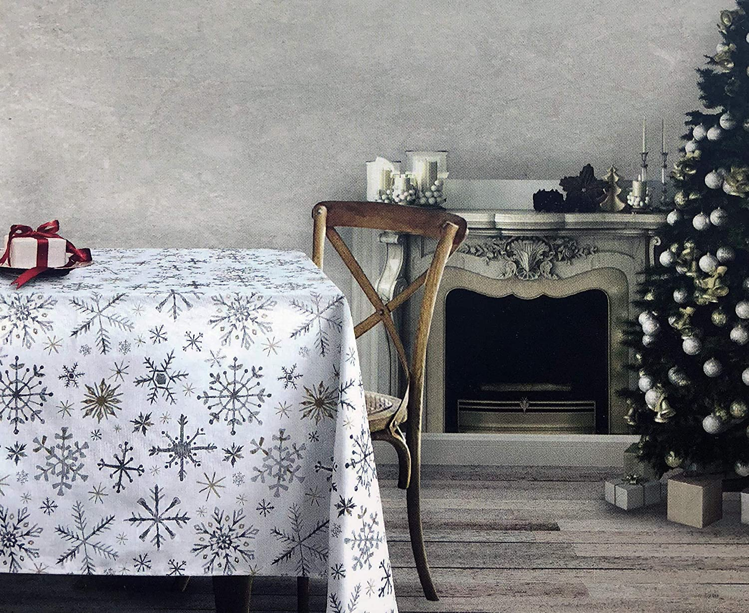 Dash Away Home Fabric Cotton Christmas Holiday Tablecloth Snowflakes in Shades Gray Silver Beige Tan on White 60 Inches x 120 Inches