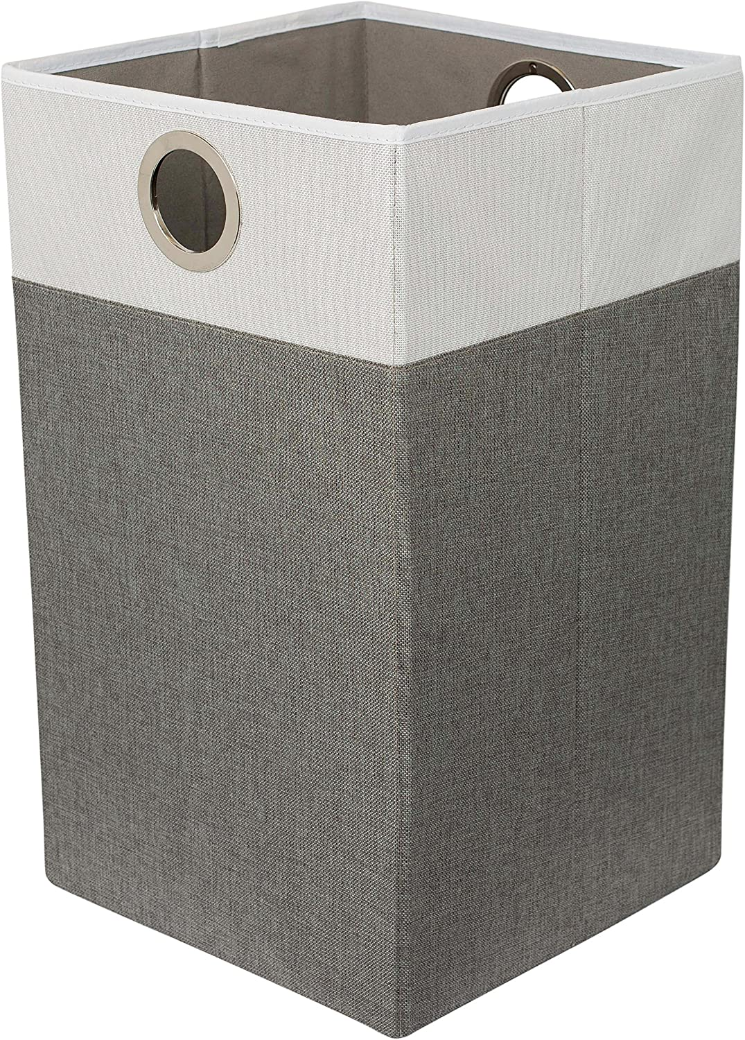 BIRDROCK HOME Folding Cloth Laundry Hamper with Handles - Dirty Clothes Sorter - Easy Storage - Collapsible - Grey and White