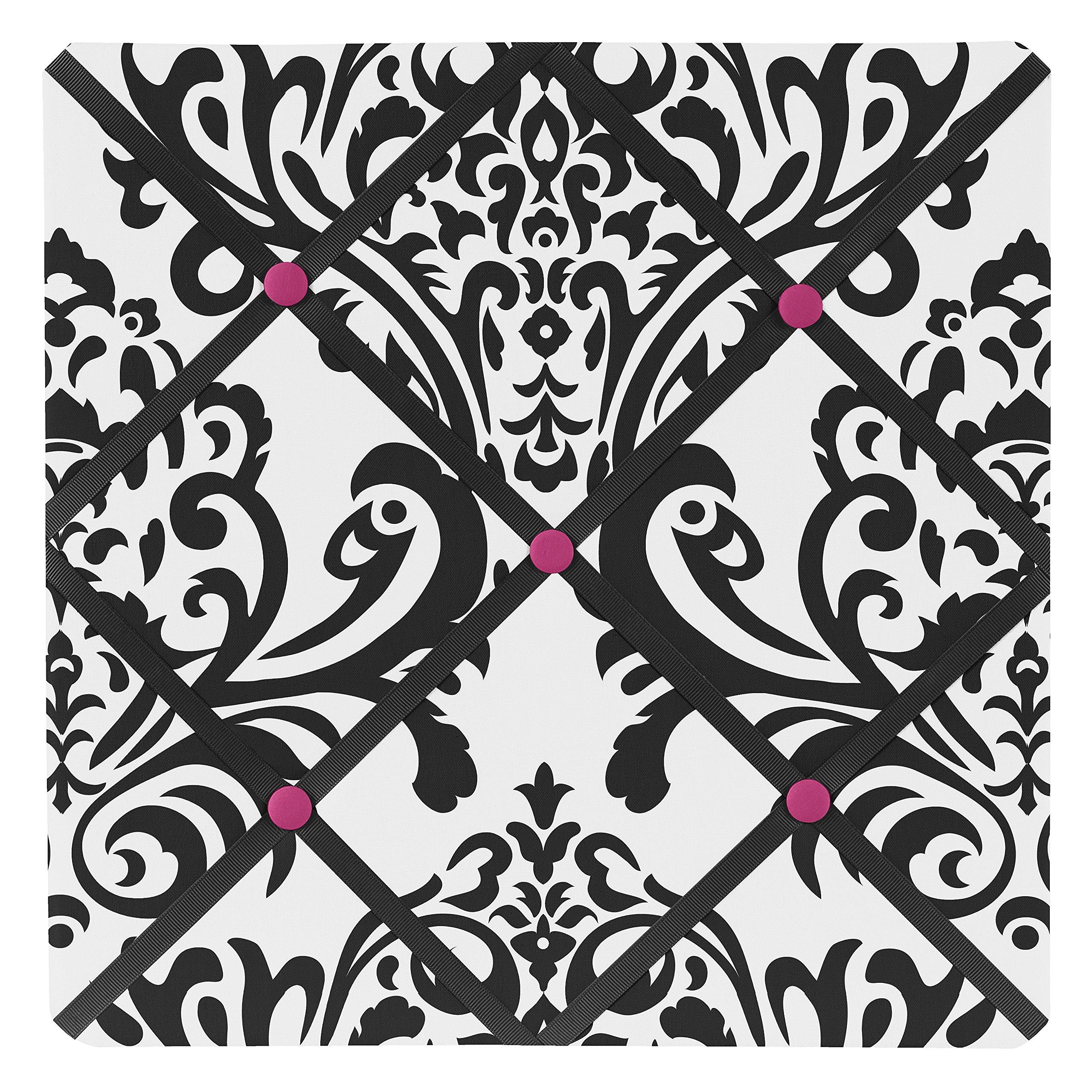 Sweet Jojo Designs Hot Pink, Black and White Isabella Fabric Memory/Memo Photo Bulletin Board
