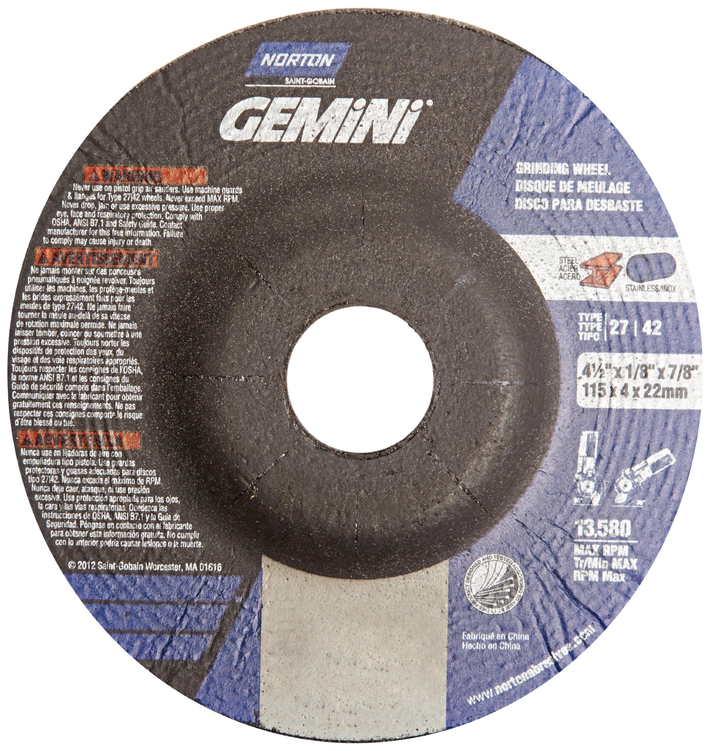 Norton Gemini Depressed Center Abrasive Wheel, Type 27, Aluminium Oxide, 7/8'' Arbor, 4-1/2'' Diameter x 1/8'' Thickness  (Pack of 25)