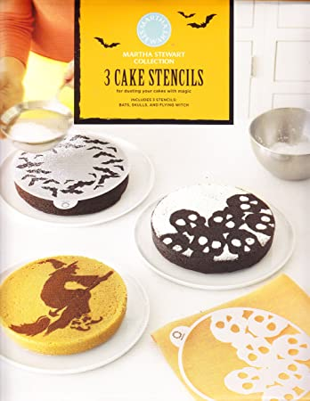 martha stewart set of 3 halloween cake stencils bats skulls and flying witch - Martha Stewart Halloween Cakes