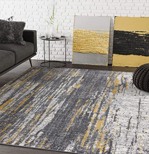 Abani Rugs Grey Yellow Painted Pattern Area Rug Bold Rugged Contemporary Modern Style Accent