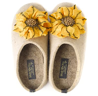5006488cd6 Made For You Women's Natural Wool Slippers with Handmade Daisy Flower,  Lightweight and Comfortable with