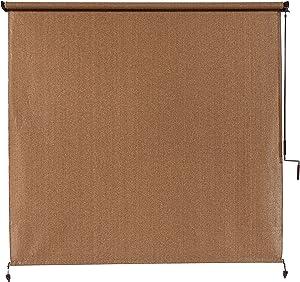 Coolaroo 462178 Outdoor Cordless Exterior Roller Shade, ((4' x 8'), Walnut