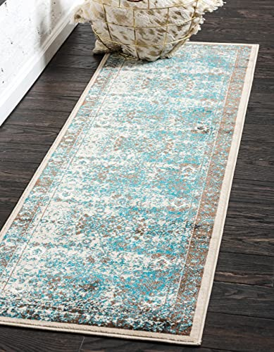 Unique Loom Imperial Collection Modern Traditional Vintage Distressed Blue Runner Rug 3 0 x 9 10