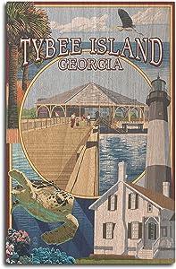 Lantern Press Tybee Island, Georgia - Montage (10x15 Wood Wall Sign, Wall Decor Ready to Hang)