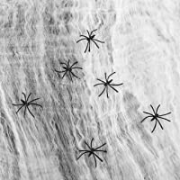 1000 sqft Stretchy Spider Web Halloween Cotton Cobweb with 60 Fake Spiders Bushes Yard Party Decor