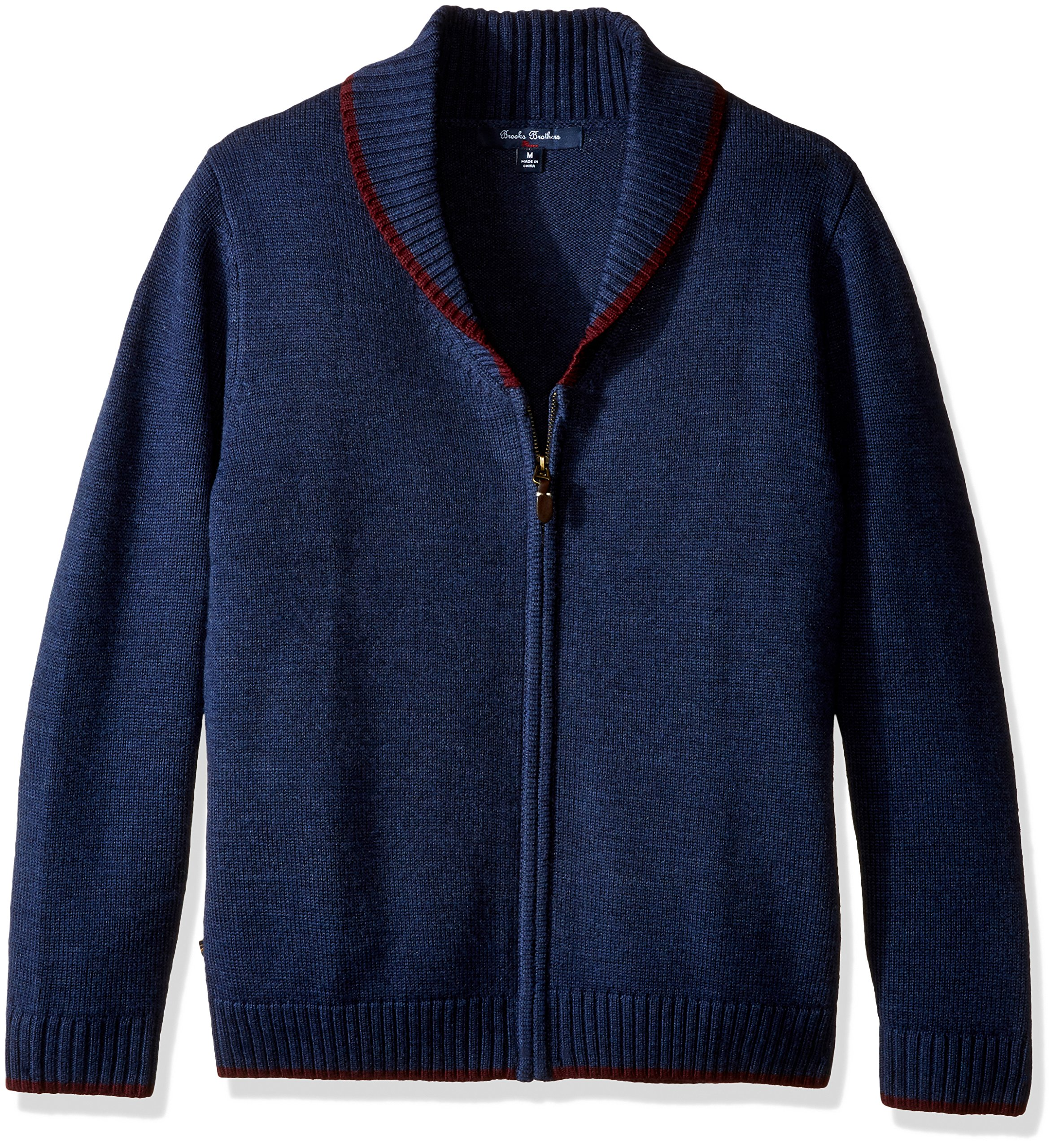 Brooks Brothers Big Boys' Shawl Collar Full Zip, Navy, M by Brooks Brothers