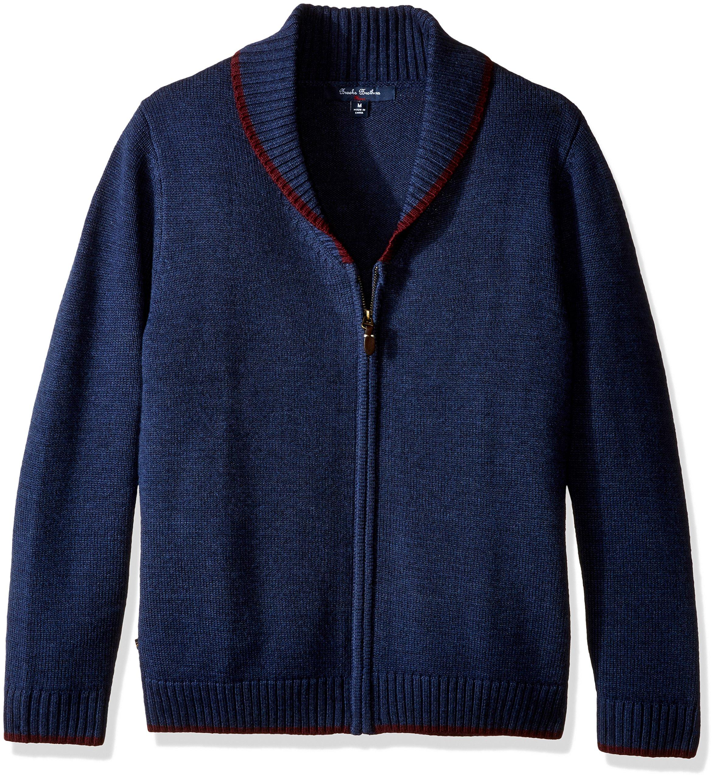 Brooks Brothers Little Boys' Shawl Collar Full Zip, Navy, s