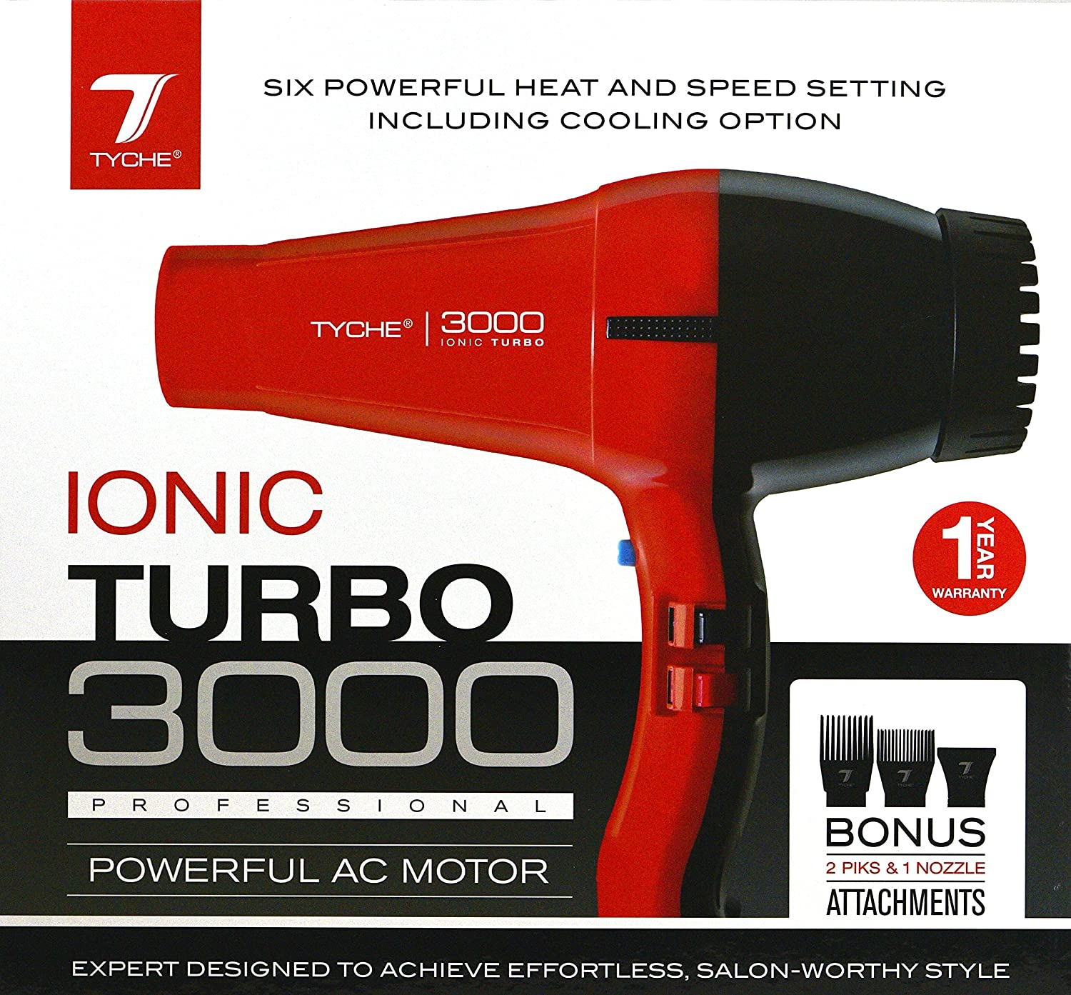 Amazon.com: Tyche Turbo Jet Ionic 3000 Professional Dryer (1 Year Warranty Included): Health & Personal Care
