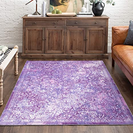 Mohawk Home Prismatic Garden City Purple Boho Distressed Abstract Precision Printed Area Rug 5 X8 Furniture Decor