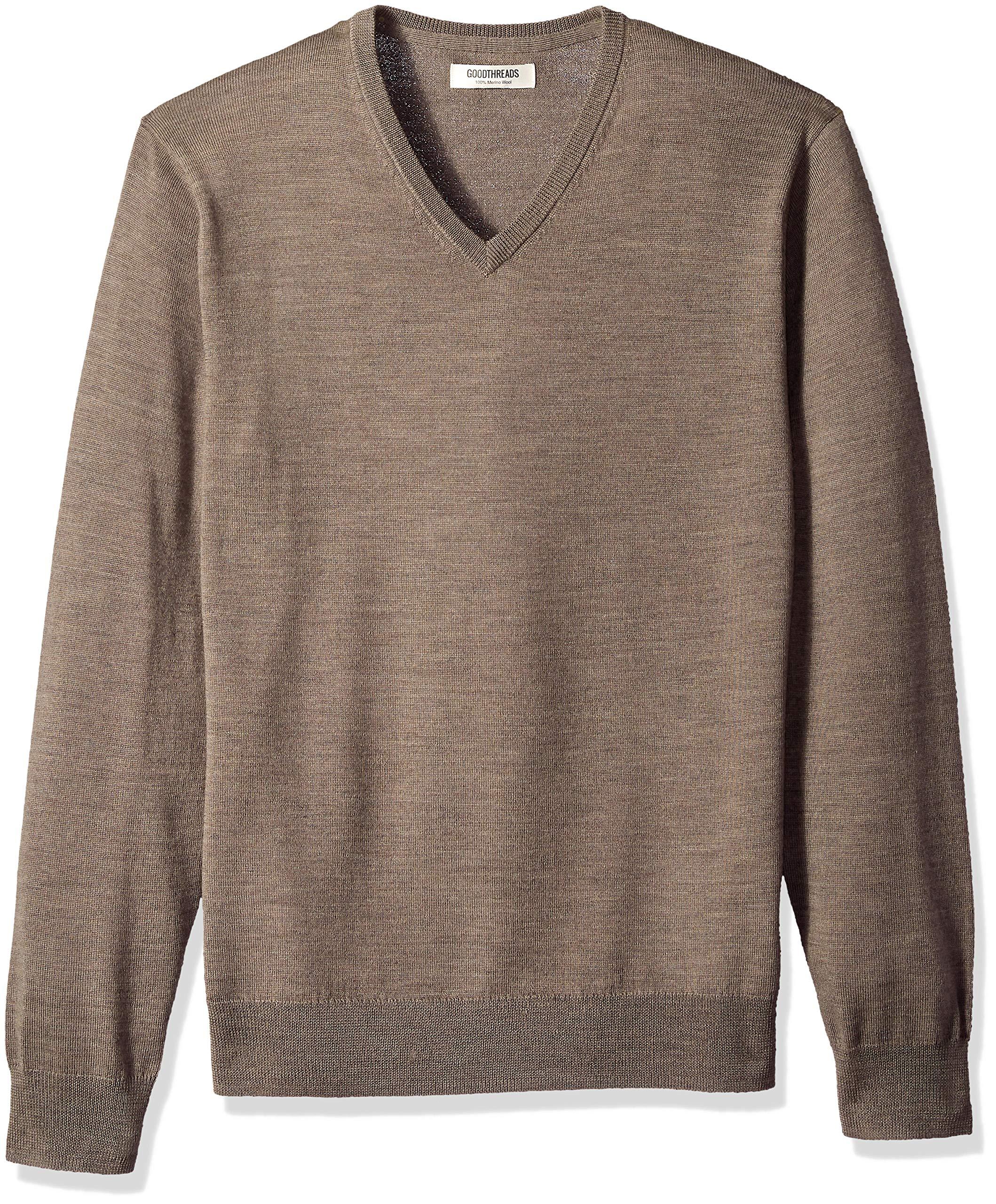 Goodthreads Men's Merino Wool V-Neck Sweater, Light Brown, Large