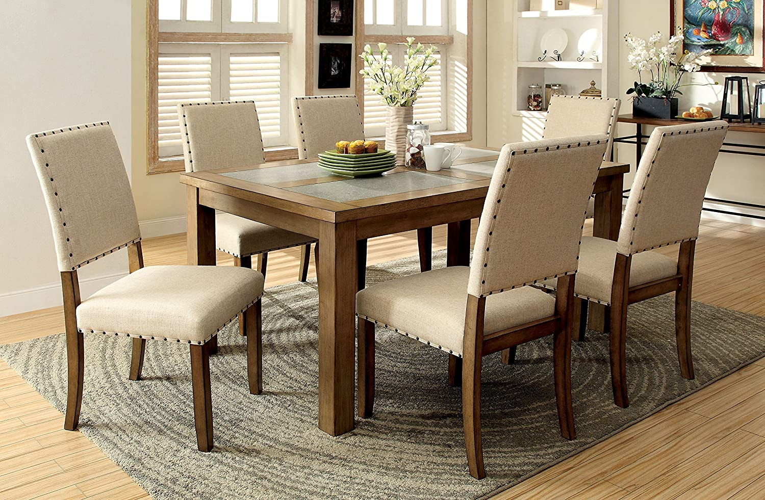 Amazon.com   Furniture Of America Lucena 7 Piece Transitional Dining Set    Table U0026 Chair Sets