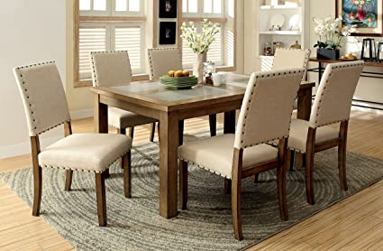 Amazon.com - Furniture of America Lucena 7-Piece Transitional Dining ...