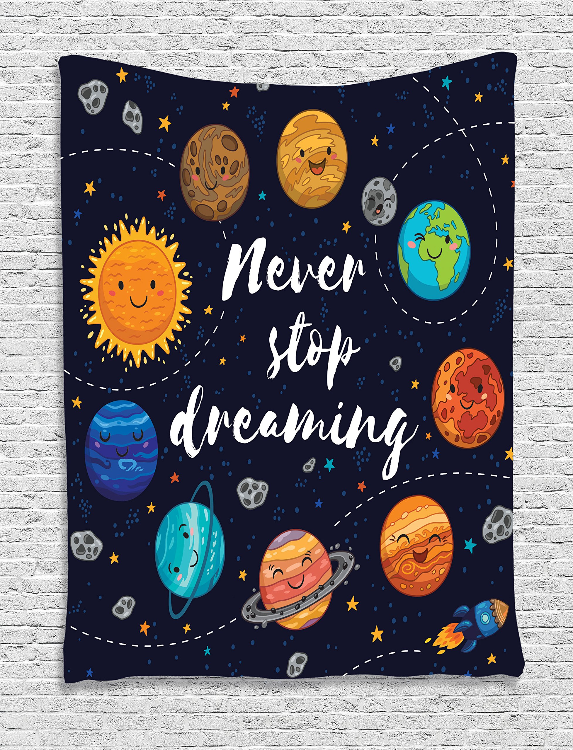 Ambesonne Quotes Decor Tapestry Wall Hanging, Cute Outer Space Planets and Star Cluster Solar System Moon and Comets Sun Cosmos Illustration, Bedroom Living Room Dorm Decor, 60 x 80 Inches, Multi