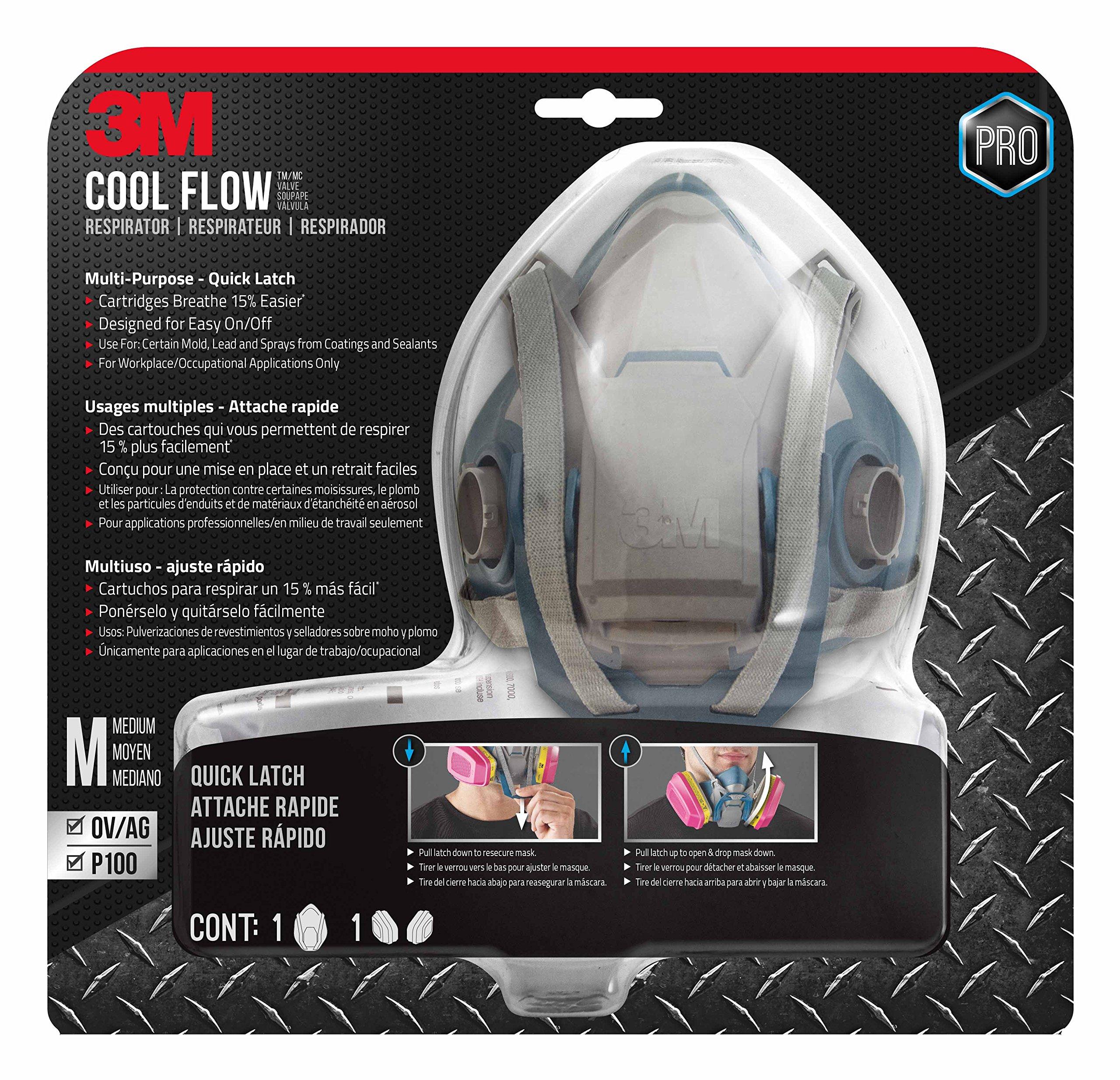 3M 65023QLHA1C-PS Pro MultiPurpose Respirator with Quick Latch, Medium