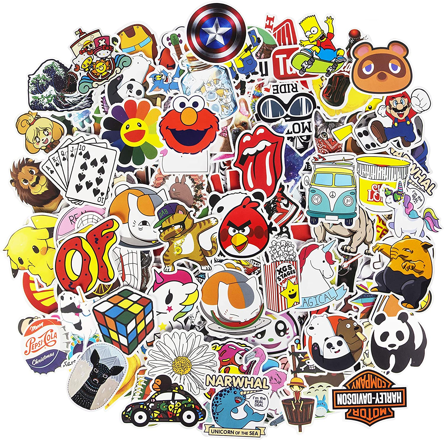 Cool Stickers, 200pcs Mixed Waterproof Vinyl Stickers for Water Bottles Laptop Stickers Cars Motorbikes Bicycle Skateboard Stickers Luggage Phone Graffiti Decals Computer Stickers for Teens