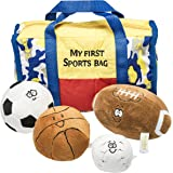 Prextex My First Sports Bag Playset with Plush Basketball, Baseball, Soccer Ball and Foot Ball Great Toy for Kids