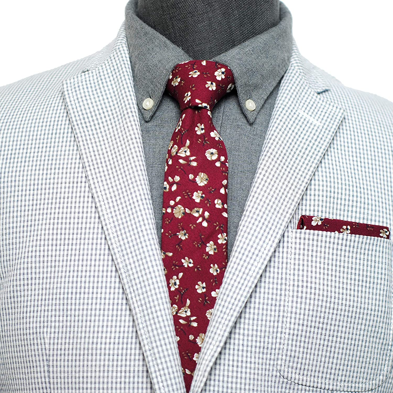 Mens Casual Skinny Floral Tie Combo Set with Flower Pocket Square 2/½ Cotton Necktie Hand Made by ZENXUS TC047