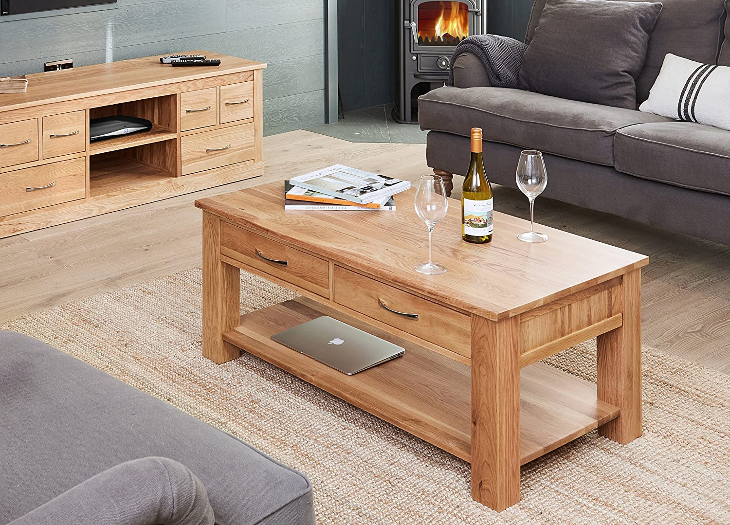 baumhaus mobel oak four drawer coffee table amazon co uk kitchen home