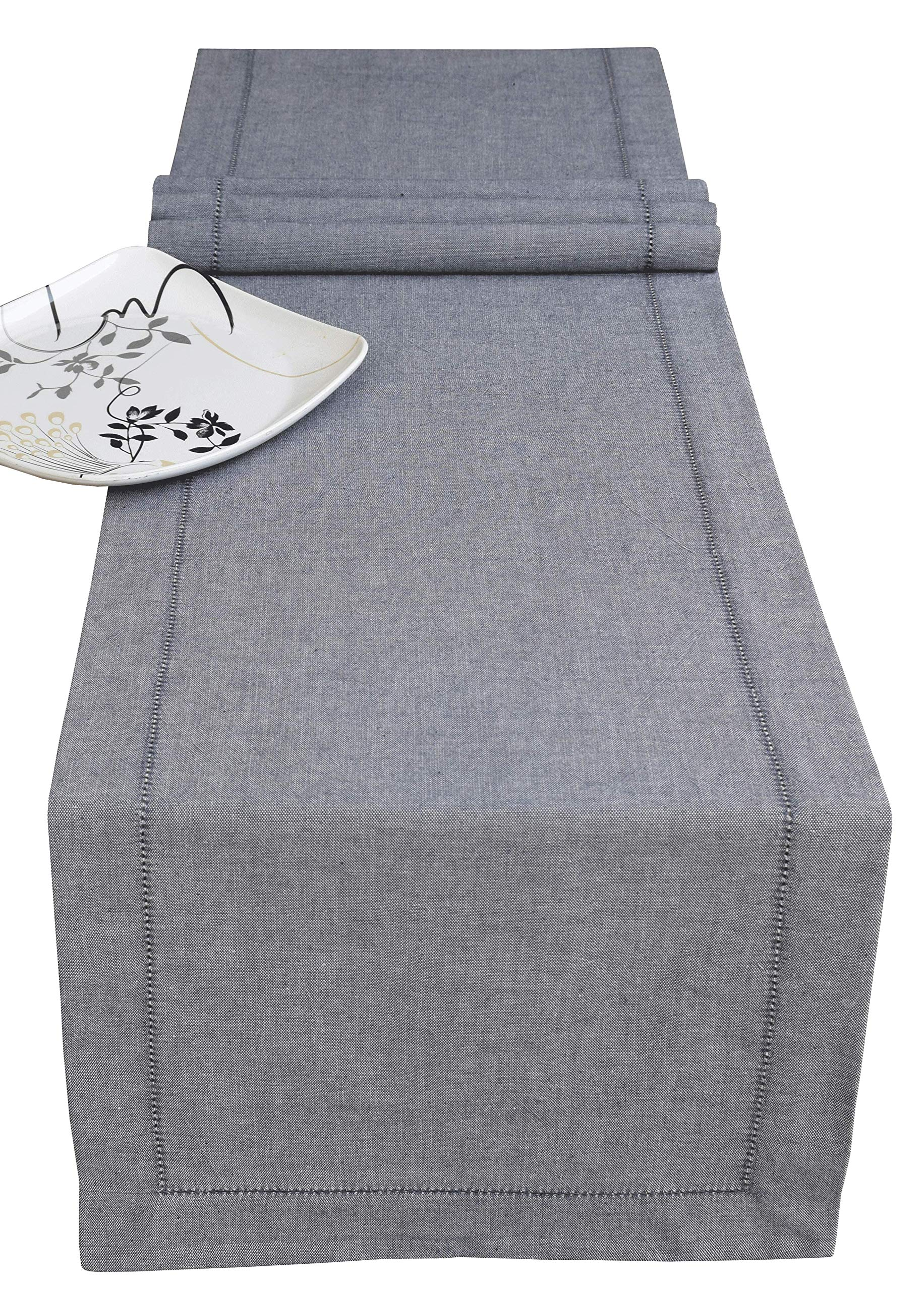 Light & Pro Cotton Chambray Table Runner with Hemstitched -16x90 Navy -Decorative Runners Perfect for Family Dinners or Gatherings, Indoor or Outdoor Parties, Everyday use