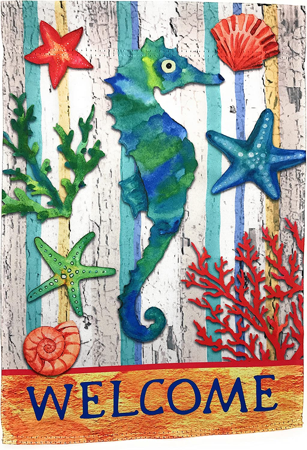 """Lantern Hill Premium Garden Flag; 12"""" x 18""""; Double Sided Reads Correctly Both Sides (Seahorse Welcome)"""