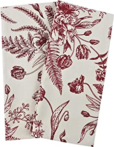 Crabtree Collection Kitchen Towels 100% Cotton Gift Set of 2 Kitchen Hand Towels Tea Towels for Kitchen Decor (18x28 inch) (Red Vintage Floral)